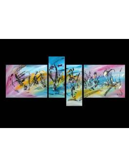 """""""Autre monde"""" - Tableau quadriptyque multicolore"""