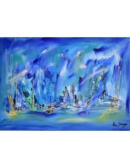 Au coeur de l'océan - tableau abstrait bleu