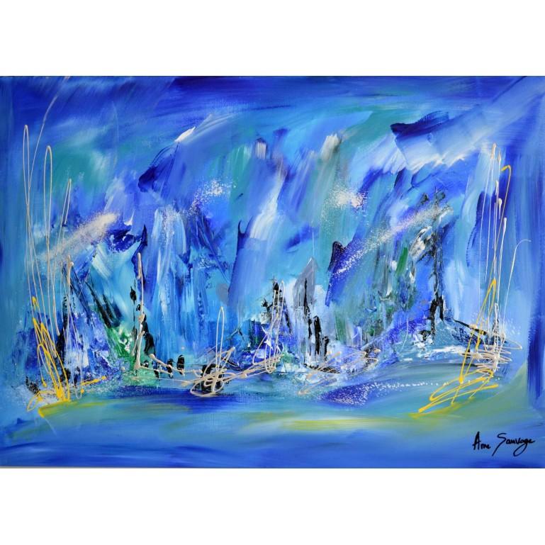 Au coeur de l'océan - Tableau abstrait bleu bateaux