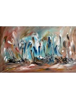 Atterrissage périlleux - tableau abstrait bleu marron