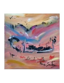 La bas dans la vallée - peinture abstraite oiseaux