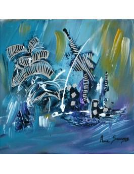 tableau peinture dauphins sur toile