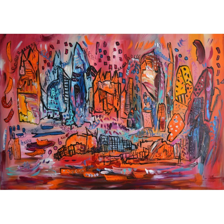 La fête continue - grand tableau abstrait coloré unique