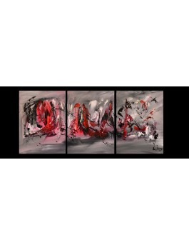 L'équilibre de la vie - tableau triptyque gris rouge