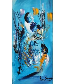 Attente - Tableau bleu turquoise et or sur bois