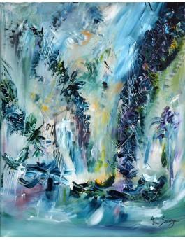 Tornades émeraude, tableau abstrait vert