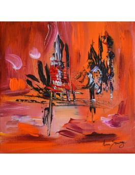 L'oiseau attend - petit tableau abstrait orange