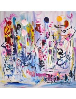 Ballons et confettis- Peinture abstraite colorée