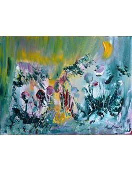 Les fleurs sucettes - tableau abstrait vert
