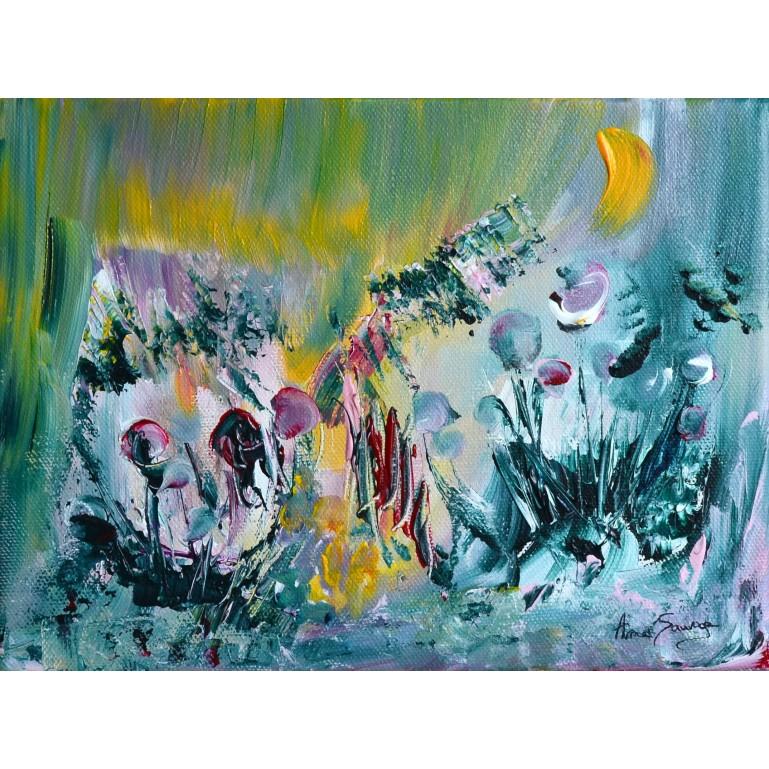 Petit tableau abstrait vert bleu rose jaune les fleurs sucettes