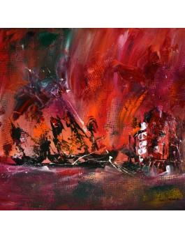 Feu maritime - tableau contemporain rouge