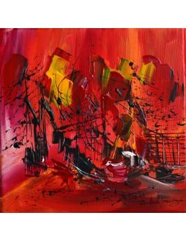 Chaleur d'été - Tableau abstrait rouge