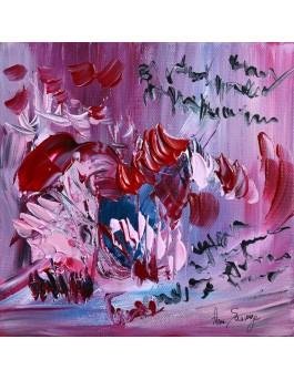 Mots de fleurs - tableau abstrait rose