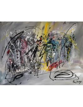 Cool la vie - tableau abstrait gris jaune rouge