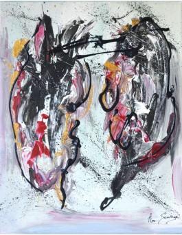 Double vie, tableau abstrait gris noir rouge