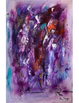 Le virtuose révélé - Tableau abstrait vertical violet