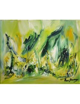 L'âme de la nature - tableau abstrait vert