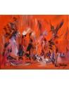 tableau abstrait orange