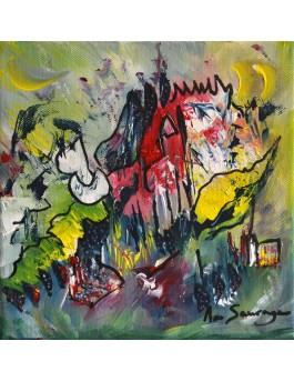 Chevauchée sauvage - tableau vert abstrait