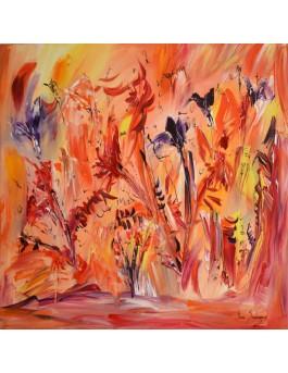 Iris - tableau de fleurs orange