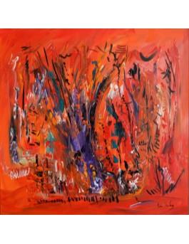 L'arbre de l'éternité - peinture abstraite orange