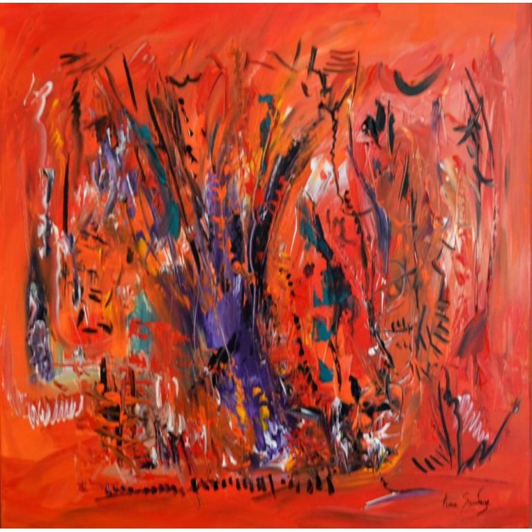 Grand tableau abstrait orange L'arbre de l'éternité