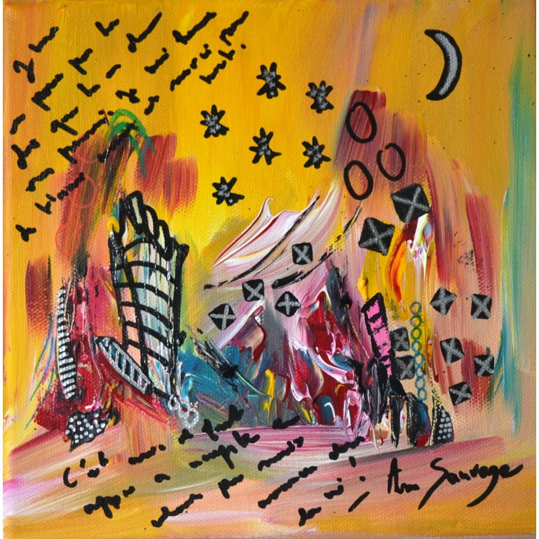 La ville imaginaire - toile abstraite multicolore
