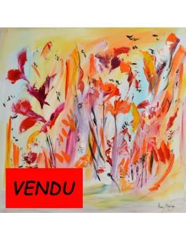 Fleurs d'Eden - peinture abstraite de fleurs