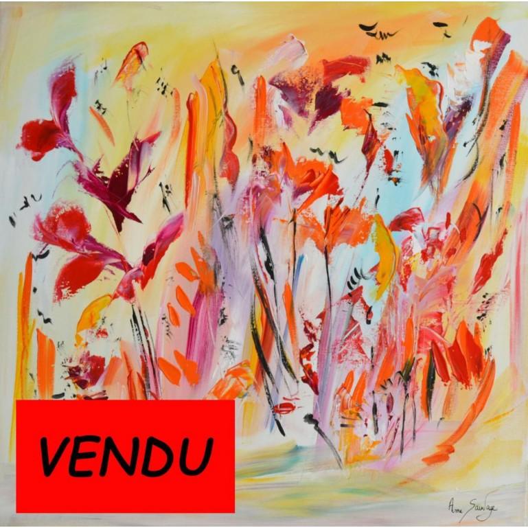 tableau floral abstrait Fleurs d'Eden