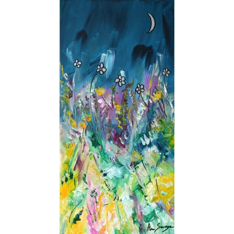 Tableau abstrait vertical de fleurs