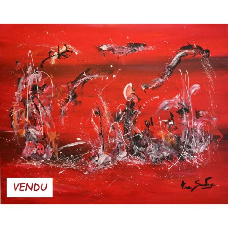 tableau abstrait rouge Le domaine du dragon