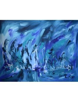 La profondeur de l'océan - tableau abstrait bleu