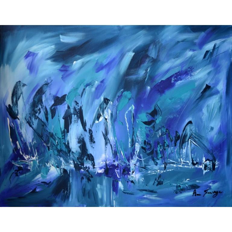 Tableau abstrait bleu 40 x 50 cm