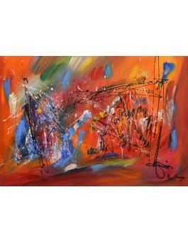 Le réveil - tableau abstrait orange