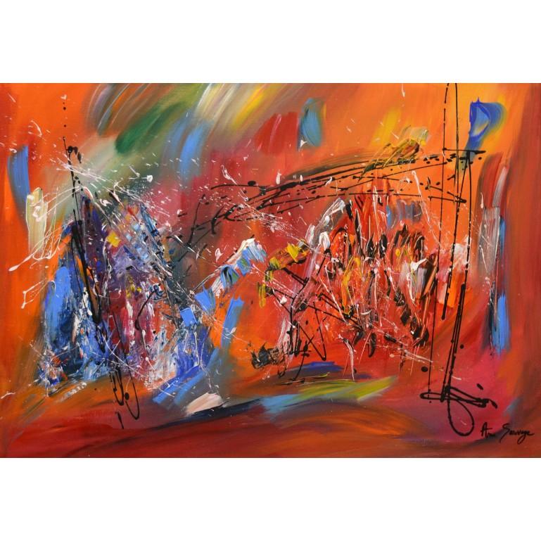 tableau contemporain design orange