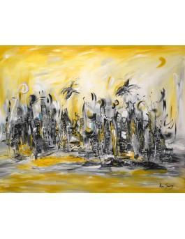 La ville se déchaîne - tableau jaune moutarde et gris
