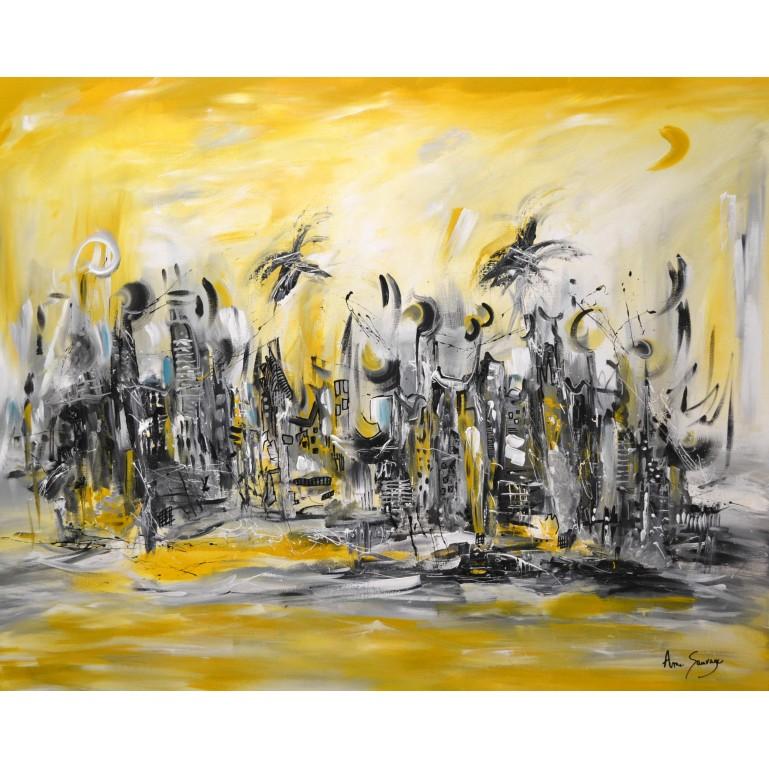 Grand tableau jaune moutarde gris blanc noir