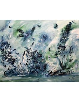 Tableau abstrait vert émeraude