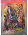 tableau abstrait vertical multicolore