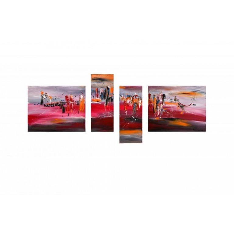 peinture abstraite contemporaine quadriptyque Les tours explosives