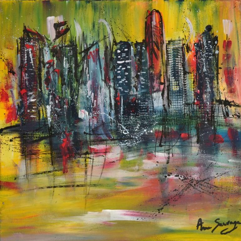 Tableau abstrait jaune ville abstraite
