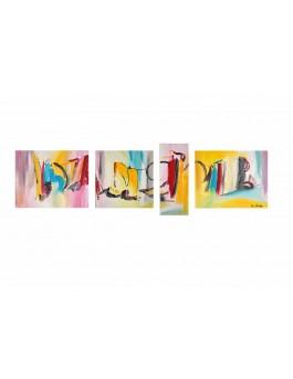 Quadriptyque multicolore - Couleurs du bonheur
