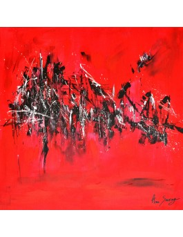 Soleil sur le port - tableau abstrait rouge et noir