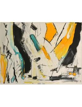 tableau abstrait blanc jaune bleu turquoise