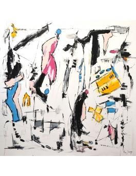 grand tableau abstrait contemporain blanc 100 x 100