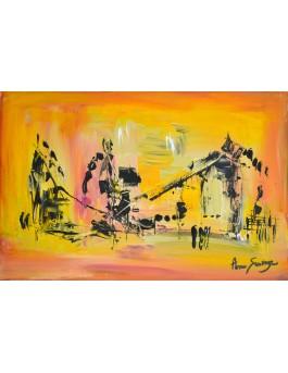 Harmonie - tableau abstrait jaune
