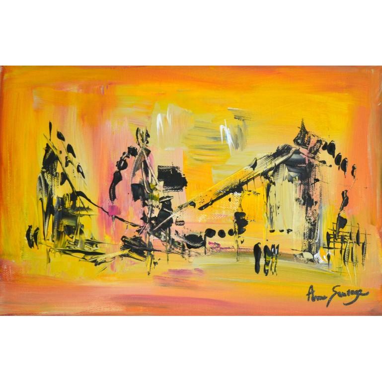 peinture abstraite jaune et noir
