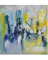 tableau abstrait vert et bleu