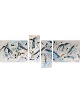 Contentement - tableau abstrait gris en 4 parties