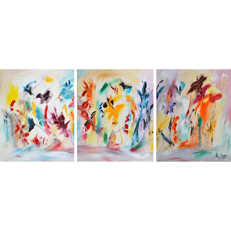 tableau en 3 parties - peinture fleurs